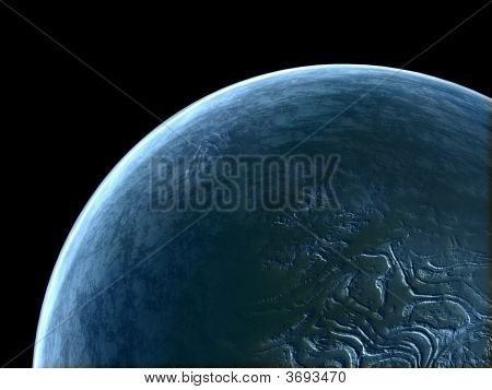 Alien Blue Unknown Planet In Empty Space