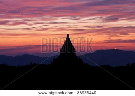 Silhouette Of Ancient Pagoda At Sunset In Bagan, Myanmar