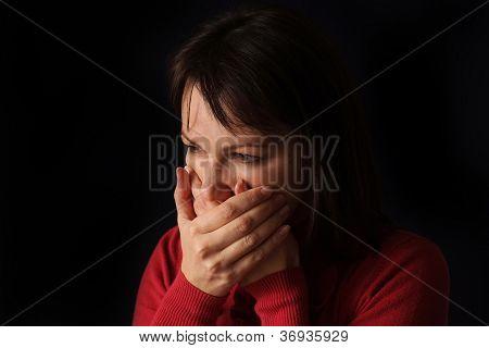 Beautiful Caucasian sad woman