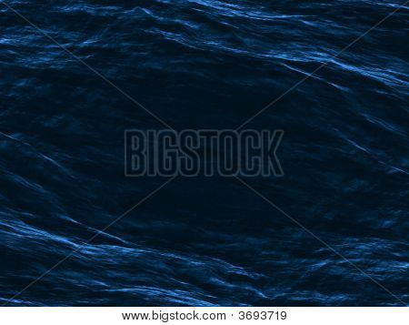 Black Dark Water Surface With Blue Soft Mirrored Waves