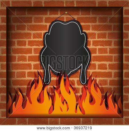 raster blackboard chicken fireplace grill blank