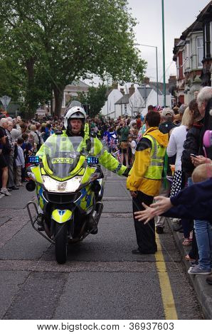 CANTERBURY STREET GILLINGHAM KENT - JULY 20TH 2012 - Kent Police Escorting Olympic Flame