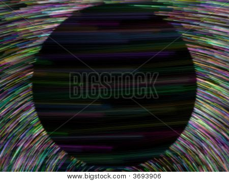 Black Dark Sphere With Colorful Linier Particles