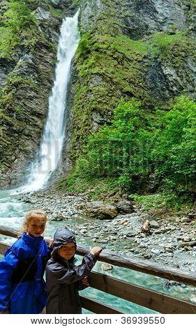 Children And Liechtensteinklamm Gorge  (austria).