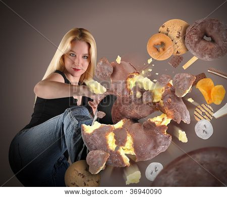 Diet Woman Kicking Junk Food