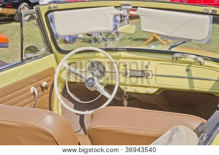1958 Yellow Vw Beetle Convertible Interior