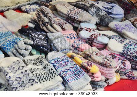 Woolen Mittens At Russian Market