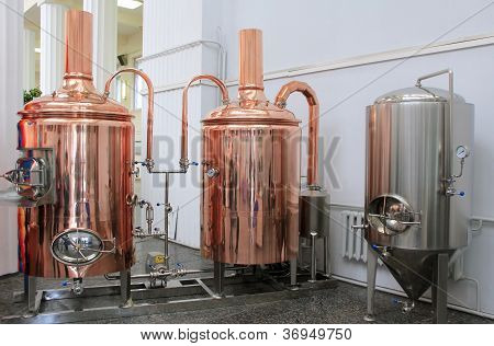 Copper Tuns For Brewing At A Brewery