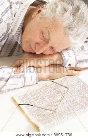 Tired eldery senior