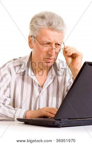 Funny elderly male