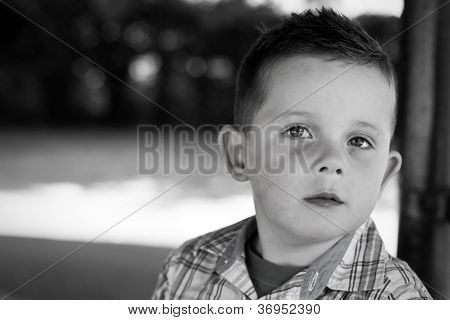 Black And White Boy Portrait In The Park