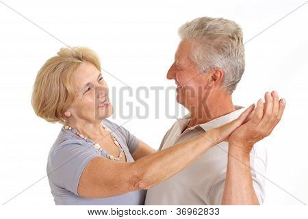 Lovely old couple at home