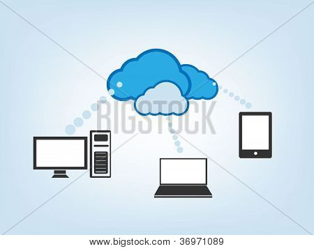 Cloud Drive Vector Illustration