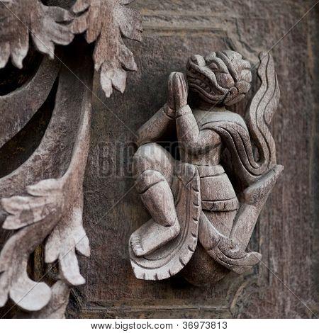 Wooden carved in Shwe Nan Daw Kyaung Monastery in Mandalay Myanmar