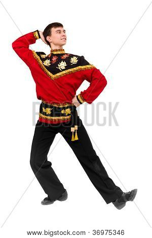 Young Dancer Wearing A Folk Russian Costume Dancing