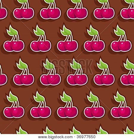 Seamless Chocolate Cherry Pattern