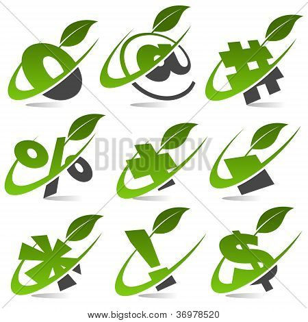 Swoosh Green Symbols with Leaf Icons