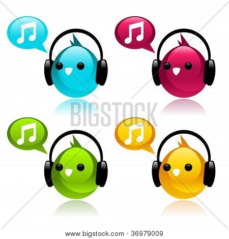 Colorful Birds with Earphones