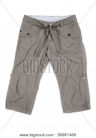 Women's Summer Cargo Shorts Isolated On White With Natural Shadows