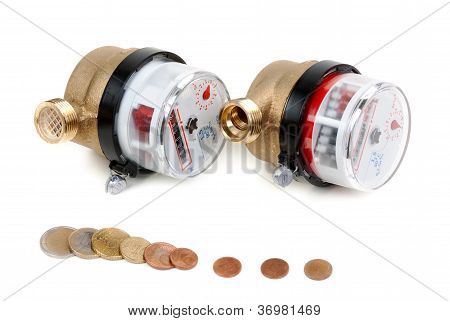 Water Meters And Coins With Euro Money
