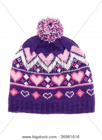 Knitted Hat With Pompons