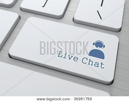 Live Chat Button on Modern Computer Keyboard.