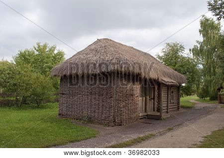 Small Wooden Outhouse In Russian Village