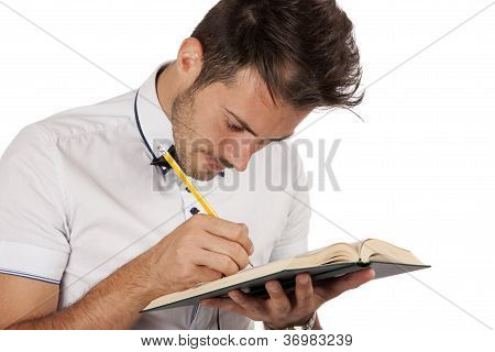 Man Making Annotations