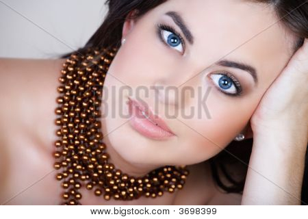 Woman With Brown Hair And Smile