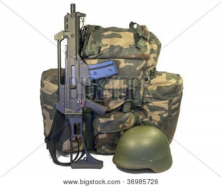 Soldier Equipment: Automatic Rifle, Backpack, Helmet. Isolated.