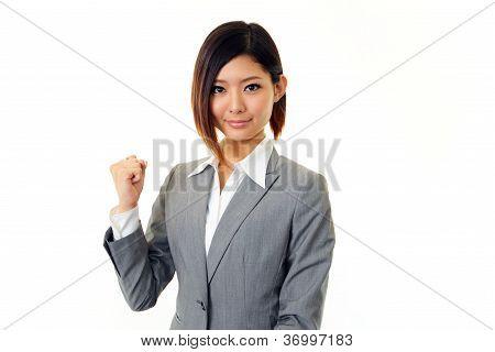 Business woman enjoying success