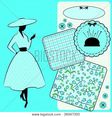 Vintage sewing elements with woman's silhouette on the background. Vector set