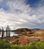 Lake Wanaka Vertical Panorama In Autumn, Otago New Zealand