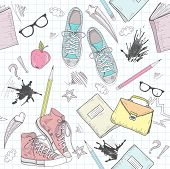 Cute School Abstract Pattern. Seamless Pattern With Shoes, Bags, Glasses, Stars, Books And Ink Stain