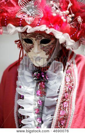 Carnival Mask Under Pink Costume