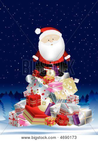 Santa On Present Stack At Night