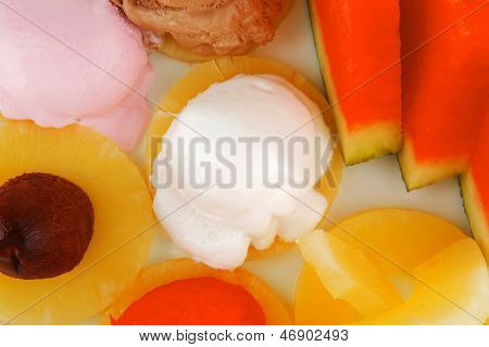 fruits served and mixed with ice cream