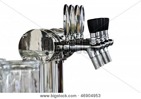 Beer Taps Isolated Over White