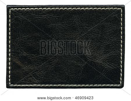 Blank leather background with stitches, isolated.