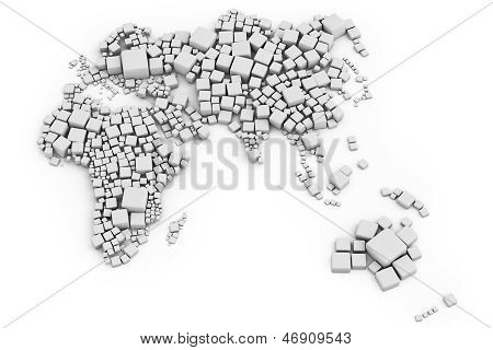 3D Map Of Europe, Asia And Oceania Made Out Of Blocks