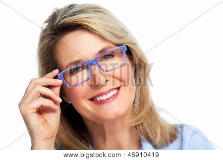 Beautiful senior woman wearing eyeglasses. Vision.