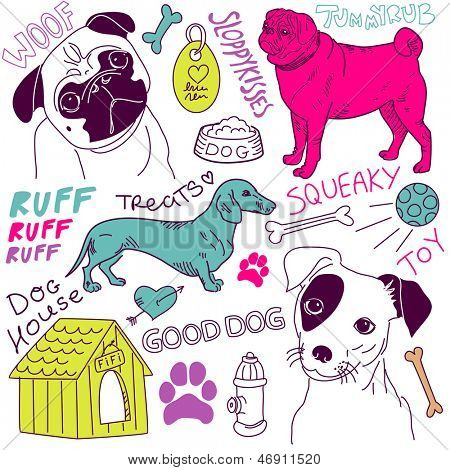 love Dogs! vector doodles set