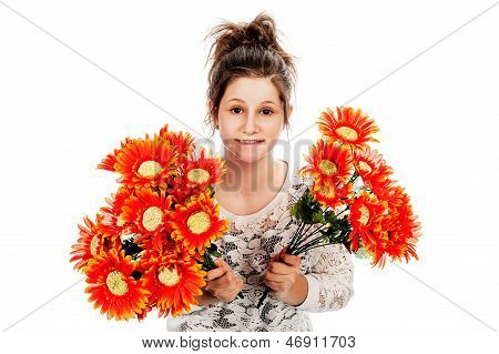 Teenage Girl Holding Two Bunches Of Fake Flowers.