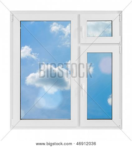 Plastic window with sky on white background
