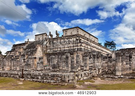 Hall of the Thousand Pillars - Columns at Chichen Itza, Mexico.