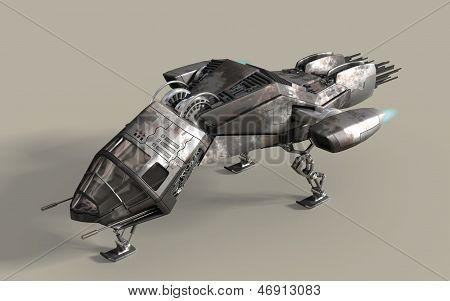 Futuristic 3D battleship pod