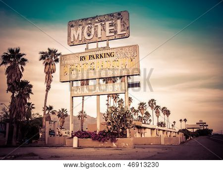 Roadside motel sign - decayed iconic desert Southwest USA