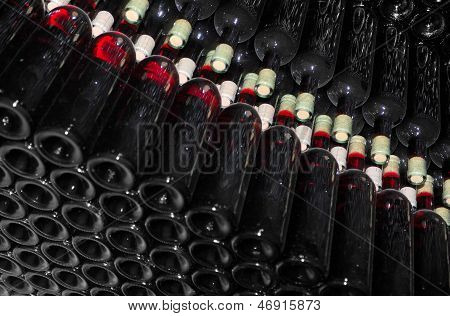 Old bottles of red wine