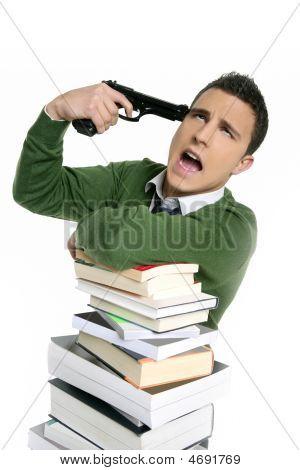 Unhappy Sad Student Suicide Gun Metaphor