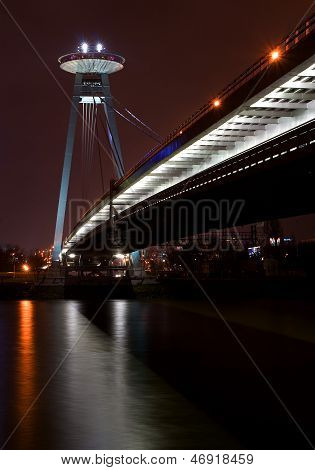 Bratislava New Bridge During Night.